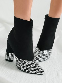 Black Point Toe Chunky Rhinestone Fashion Ankle Boots