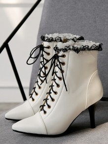 White Point Toe Stiletto Fashion Ankle Boots