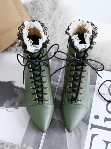 Army Green Point Toe Stiletto Fashion Ankle Boots