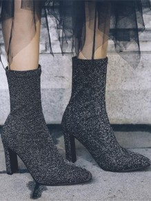 Black Point Toe Chunky Sequin Fashion Ankle Boots