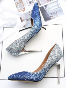 Blue Gradient Point Toe Stiletto Sequin Glitter Sparkly Formal Fashion Wedding High-Heeled Shoes