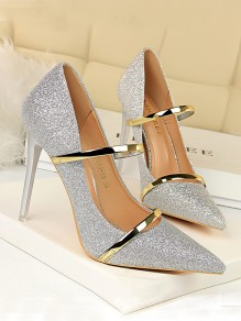 Silver Point Toe Stiletto Sequin Formal Fashion High-Heeled Shoes