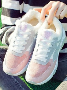 Pink Round Toe Flat Casual Fashion Shoes