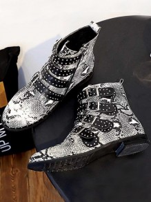 Multicolor Round Toe Flat Rivet Print Fashion Ankle Boots
