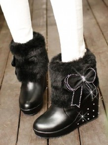 Black Round Toe Wedges Bow Rivet Fashion Ankle Boots