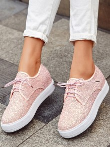 Pink Round Toe Flat Sequin Fashion Shoes