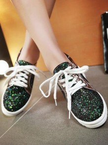 Black Round Toe Flat Sequin Fashion Shoes