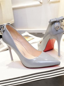 Grey Point Toe Stiletto Bow Rhinestone Formal Fashion High-Heeled Shoes
