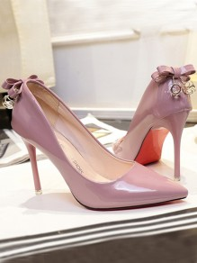 Pink Point Toe Stiletto Bow Rhinestone Formal Fashion High-Heeled Shoes
