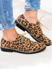 Brown Round Toe Chunky Leopard Fashion Ankle Boots