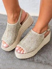 Silver Piscine Mouth Wedges Fashion Mid-Heeled Sandals