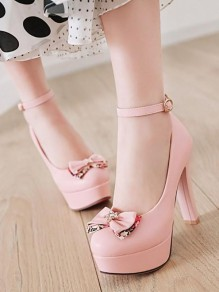 Chaussures bout rond chunky noeud papillon strass à talons hauts rose