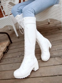 Bottes bout rond chunky mode jusqu'aux genoux blanc