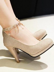 Chaussures bout rond chunky mode paillettes strass à talons hauts or
