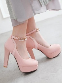 Chaussures bout rond chunky perle à talon haut rose