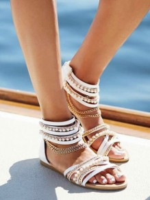 White Round Toe Flat Pearl Chain Casual Sandals