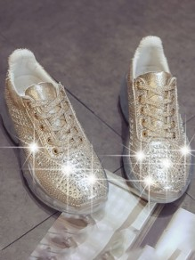 Golden Round Toe Flat Rhinestone Glitter Sparkly Casual Fashion Shoes