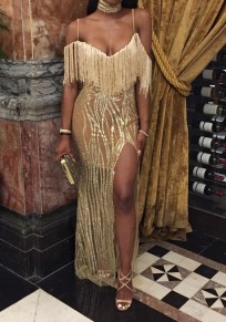 Golden Patchwork Sequin Condole Belt Tassel V-neck Maxi Dress