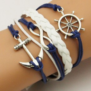 Blue Alloy Anchor Weave Vintage String Bracelet