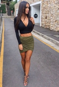Army Green Plain Cross Pleated Sexy Skirt