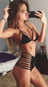 Black Plain Cut Out 2-in-1 Halter High Waisted Sexy Swimwear