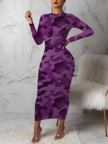 Purple Camouflage Bodycon Round Neck Long Sleeve Party Maxi Dress