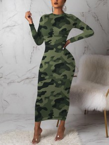 Green Camouflage Bodycon Round Neck Long Sleeve Party Maxi Dress