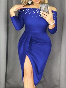 Blue Pearl Off Shoulder Bodycon Side Slits Party Maxi Dress