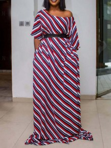 Red Striped One Off Shoulder Pockets Bohemian Party Maxi Dress