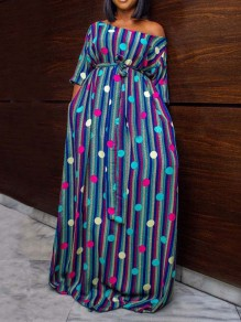 Blue Striped One Off Shoulder Pockets Bohemian Party Maxi Dress