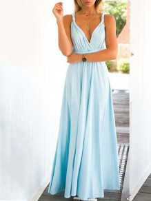Blue Backless Cross Back Flowy homecoming Party Going out Sweet Dress