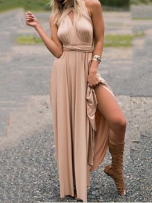 Champagne Backless Cross Back Flowy homecoming Party Going out Sweet Dress