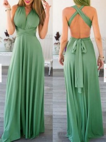Green Backless Cross Back Flowy Pleated V-neck Homecoming Party Prom Sweet Maxi Dress
