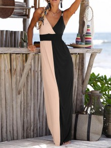 White-Black Color Block Going out Skirted Spaghetti Strap Maxi Dress