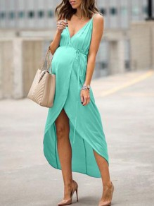 Green Irregular Slit High-Low Spaghetti Strap V-neck Sleeveless Fashion Maternity Maxi Dress
