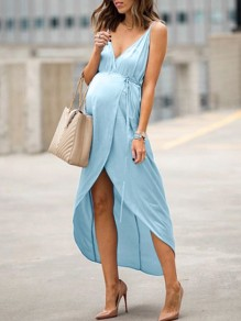 Light Blue Irregular Slit High-Low Spaghetti Strap V-neck Sleeveless Fashion Casual Maternity Maxi Dress