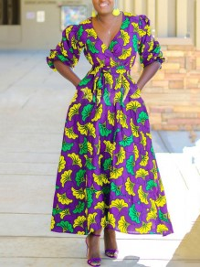 Purple Floral Pockets Pleated Petal Sleeve V-neck Bohemian Maxi Dress