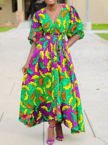 Green Floral Pockets Pleated Petal Sleeve V-neck Bohemian Maxi Dress