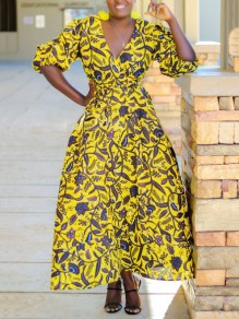 Yellow Floral Pockets Pleated Petal Sleeve V-neck Bohemian Maxi Dress