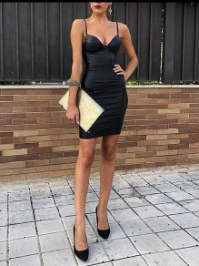 Black Spaghetti Strap Bodycon V-neck PU Leather Latex Party Clubwear Mini Dress