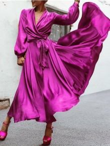 Purple Sashes Deep V-neck Lantern Sleeve Flowy Banquet Party Maxi Dress