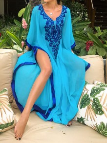 Blue Floral Print Loose Long Sleeve Flowy Chiffon Beach Cover Up Outdoors Maxi Dress