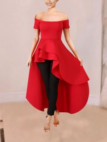 Red Off Shoulder Cascading Ruffle Irregular High-Low Elegant Party Maxi Dress