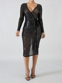 Maxi dress strass di granata con scollo A V bodycon trasparente manica lunga party nero