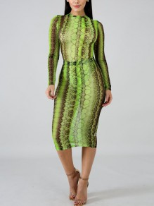 Green Snake Print Bodycon Long Sleeve Sheer Party Clubwear Maxi Dress