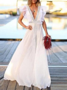 White Patchwork Lace Grenadine Backless Flowy Beach Wedding Banquet Party Maxi Dress