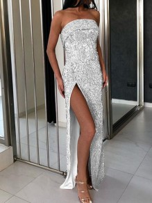 Silver Sequin Off Shoulder Side Slit Sparkly Banquet Party Maxi Dress