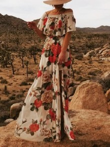 White Floral Off Shoulder Ruffle Pleated Bohemian Beachwear Party Maxi Dress