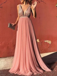 Pink Pleated Glitter Backless Deep V-neck Long Coral Evening Ball Gown Elegant Maxi Dress