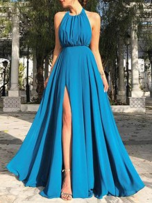 Blue Draped Backless Slit Halter Neck Flowy Big Swing Elegant Prom Maxi Dress